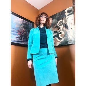 Vintage UltraSuede Sea Green Skirt Suit